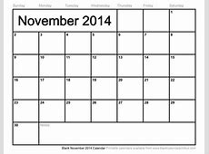 Blank November 2014 Calendar to Print