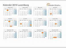 Feiertage 2019 Luxemburg Kalender & Übersicht