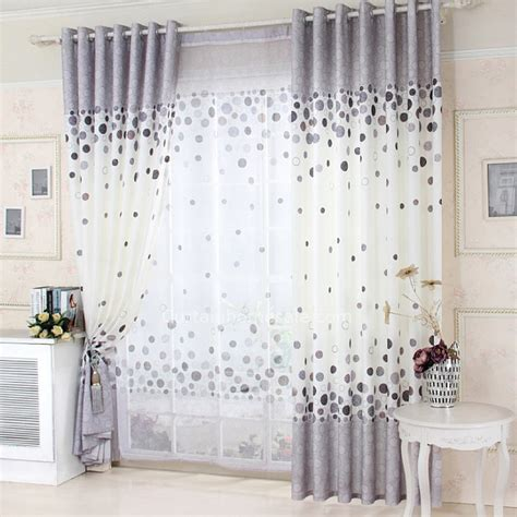 cotton white and gray curtain with polka dot pattern