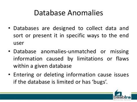 Modification Anomalies In Database by Database Anomalies