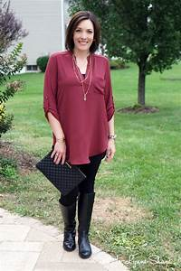 Fall Outfit Ideas Tunic + Leggings + Riding Boots