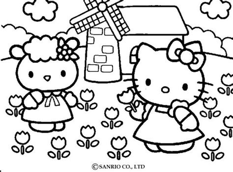 Hello Kitty Picking The Flowers Coloring Pages