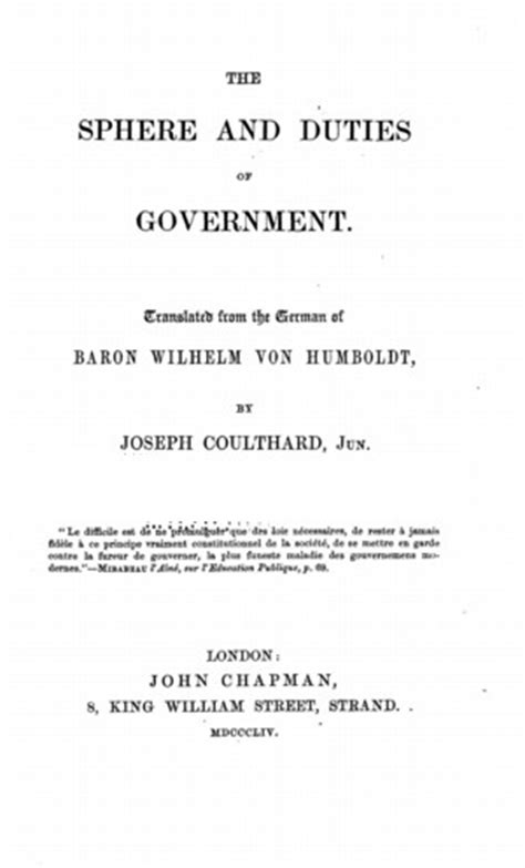 The Sphere and Duties of Government (The Limits of State