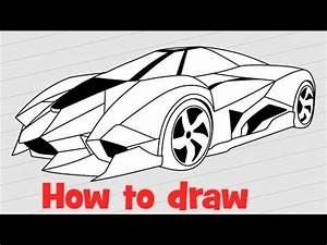 How to draw a supercar Lamborghini Egoista - YouTube