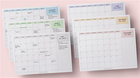 printable  calendars squirrelly minds