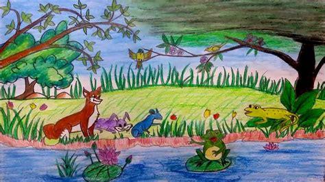 draw  scenery  kids zoo  oil pastel colours