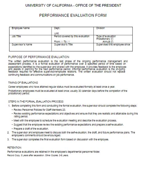 Performance Review Template Performance Review Template Free Word Templates