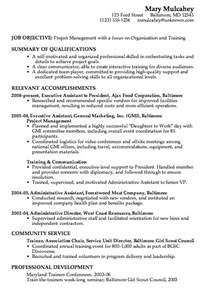 resume for unit the newest combination resume exles resume exle project management