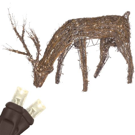 lighted grapevine reindeer outdoor christmas outdoor decorations 48 quot grapevine reindeer with led outdoor yard decoration