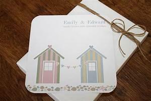 Beach hut folded wedding invitations by little fish events for Wedding invitations beach hut