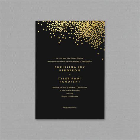VeraGold Confetti Engraved Black Wedding Invitation
