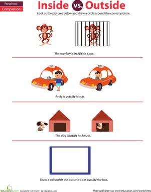 preschool math inside and outside worksheet education 156 | preschool math sorting categorizing