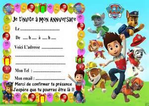 5 Cartes Invitations Anniversaire Pat Patrouille 02 D