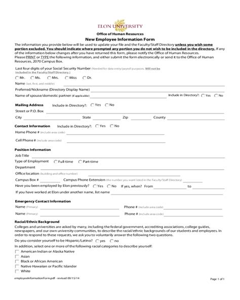 general employee information form fillable