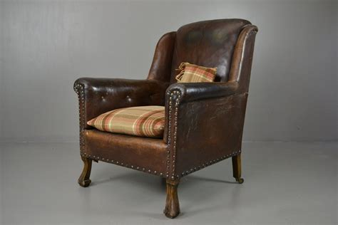 Antique Brown Leather Armchair For Sale At Pamono