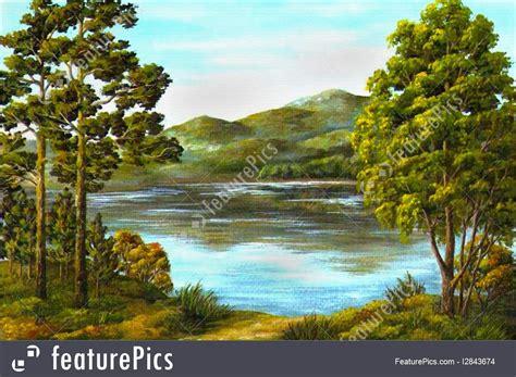 mountain lake illustration