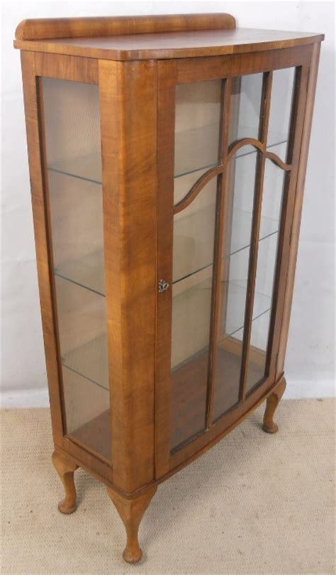 walnut narrow china display cabinet   antique queen