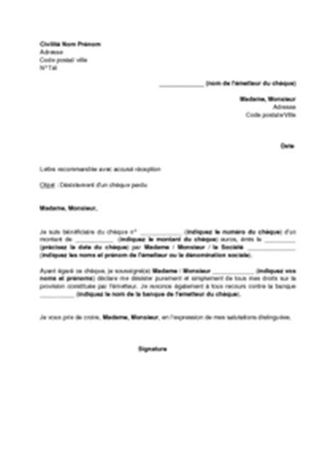 modèle lettre désistement chèque exemple gratuit de lettre d 233 sistement un ch 232 que perdu