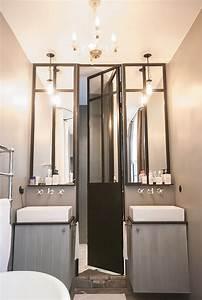 Salle bains verriere atelier meuble double vasques mur for Salle de bain verriere