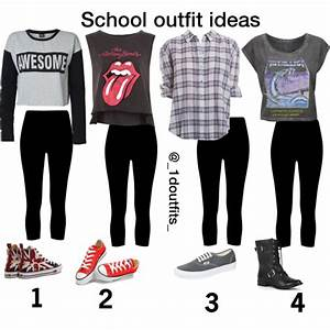 School outfit ideas- black cropped leggings for tomboy ...