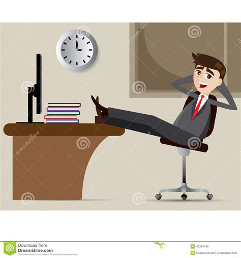 cartoon businessman relax  chair stock vector image