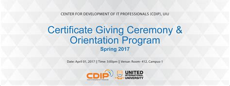 certificate giving orientation program cdip uiu united