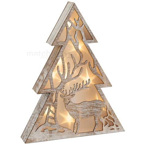 weihnachtsdeko mit holz leuchtender baum holz weihnachtsdeko mit hirsch led beleuchtung 1 stk 30x5 cm matches21 gmbh