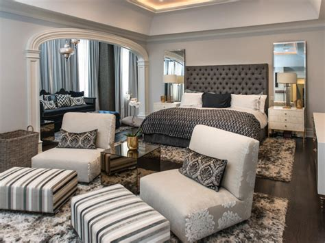 Transitional Gray Master Bedroom With Sitting Area Hgtv