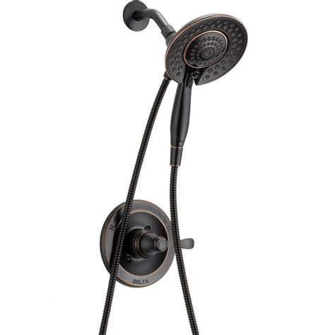 shower rubbed bronze delta porter in2ition 5 spray shower and shower