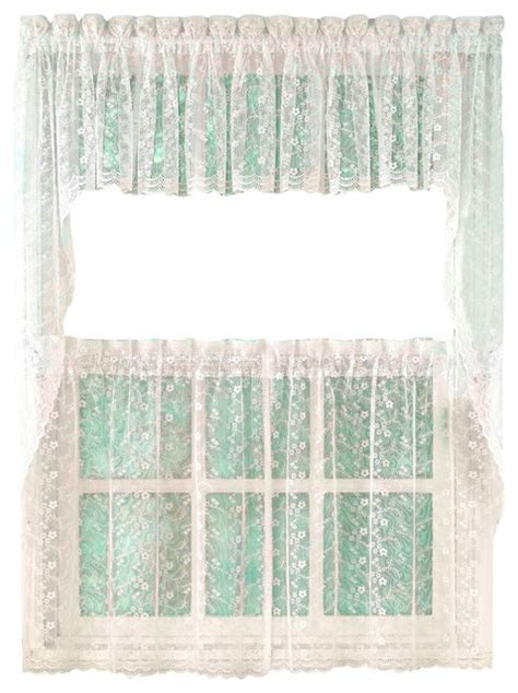 White Lace Kitchen Curtains by Priscilla Lace White Kitchen Curtain 24 Quot Tier