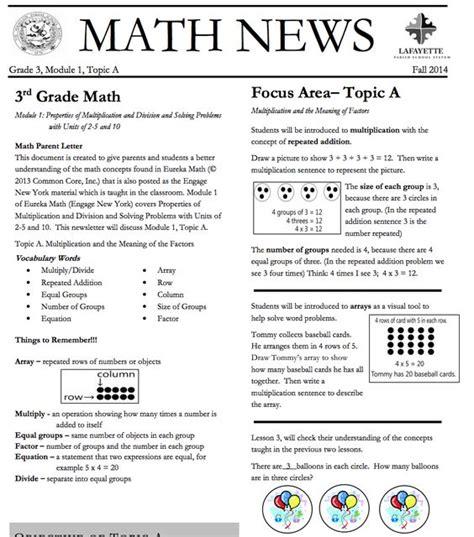 Grade 3 Module 1 Topic A Parent Newsletter Developed By Eureka Math Parent Newsletter And Grade 3 On