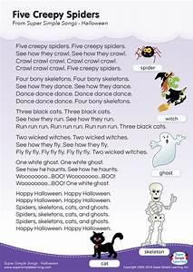 Free Christmas Poster Five Creepy Spiders Lyrics Poster Super Simple
