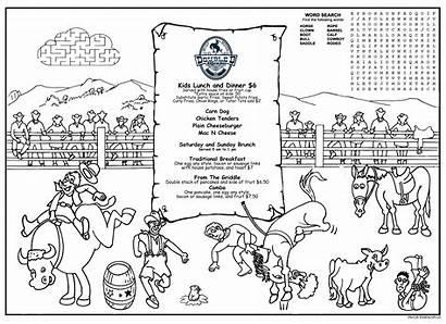 Coloring Rodeo Menus Menu Children Covers Activity