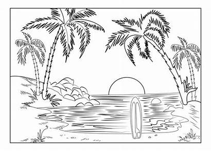 Coloring Pages Landscape Beach Printable Summer Adult