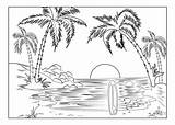 Coloring Pages Landscape Summer Beach Printable Adult Fun Sunset Nature Easy Adults Scenery Surfboard Sheets Worksheets K5 Scenes Books K5worksheets sketch template
