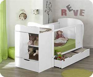 Lit bebe evolutif jooly blanc avec matelas bebe for Robe de chambre enfant avec matelas cher