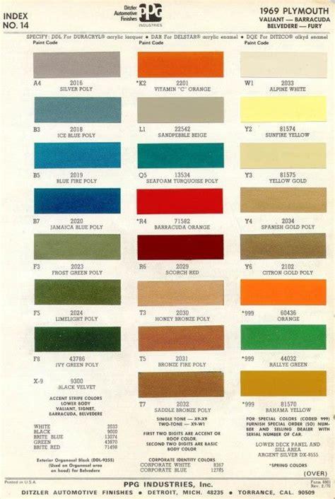 vintage mopar paint colors 1969 plymouth paint mopar engines more vintage colour palette paint charts color pallets