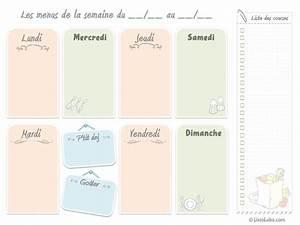 Modele De Menu A Imprimer Gratuit : menus de la semaine imprimer plannings vierges pdf ~ Melissatoandfro.com Idées de Décoration