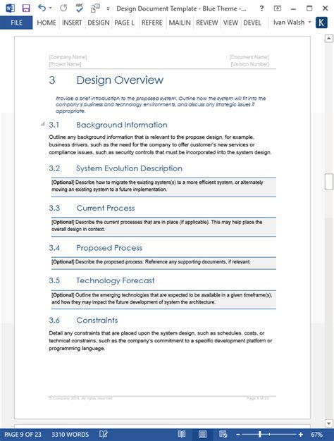 Software Design Documentation Template by Design Document Template