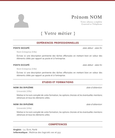 Cv Modele Francais by Exemple De Cv Francais Word Modele Cv Informatique Word