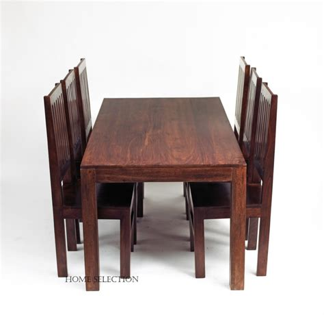 toko mango solid wood dining set with 6 wooden chairs ebay