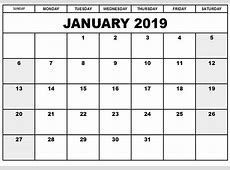 January 2019 Editable Calendar Template Free January 2019 Calendar