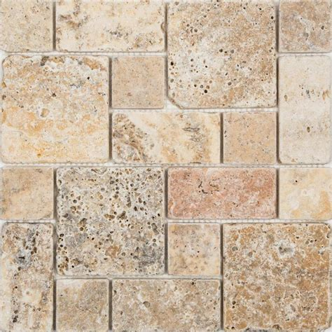 White Kitchen Granite Ideas - shop anatolia tile scabos mixed pattern mosaic travertine wall tile common 12 in x 12 in