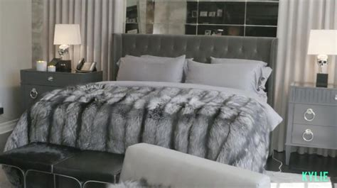 kylie jenner bedroom taupe grey fur cosy beautiful