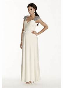 Beaded cap sleeve long jersey maternity dress davids bridal for Davids bridal maternity wedding dress