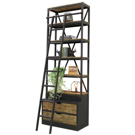 Industrial Bookcase With Ladder industrial bookcase with ladder