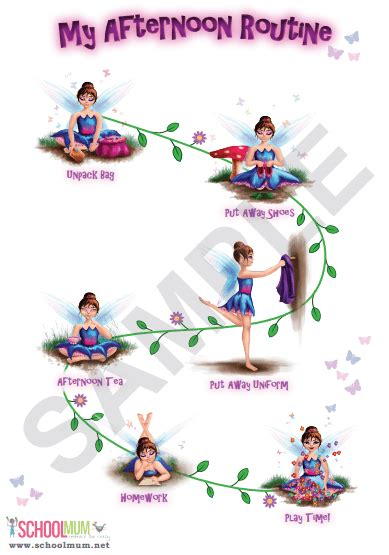 fairies afternoon routine charts school mum