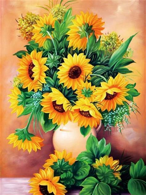 diamond painting vase  sunflowers kit bonanza