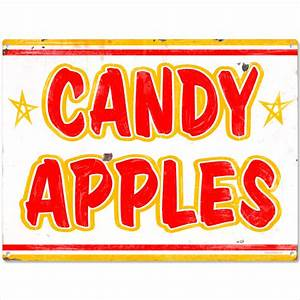 Candy Apples Carnival Treat Metal Sign Rustic Beach Wall