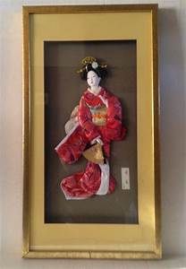 Vintage asian japanese geisha girl in framed shadow box for Asian wall art